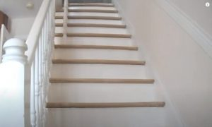 Brampton Wood Flooring white hardwood stair